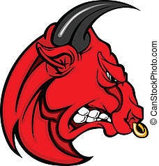Mascot Bull Vector Graphic Cartoon - Bull Mascot Head...