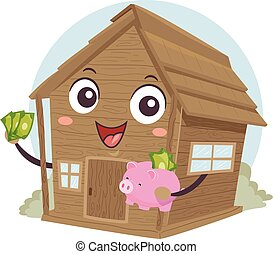 Mascot Cabin Off Grid Save Money Illustration
