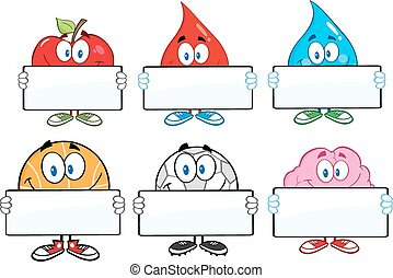 Characters With Blank Sign - Mascot Cartoon Characters With...