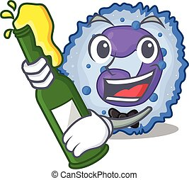 mascot cartoon design of basophil cell with bottle of beer. ...