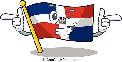 mascot cartoon design of flag dominican republic with Wink eye