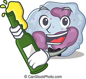 mascot cartoon design of leukocyte cell with bottle of beer...
