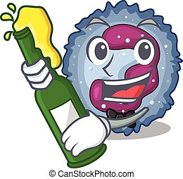 mascot cartoon design of neutrophil cell with bottle of beer...