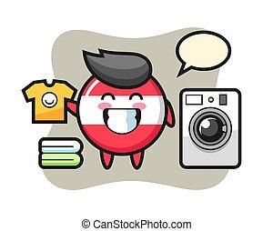 Mascot cartoon of austria flag badge with washing machine