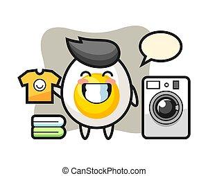 Mascot cartoon of boiled egg with washing machine