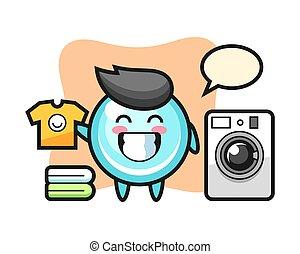 Mascot cartoon of bubble with washing machine
