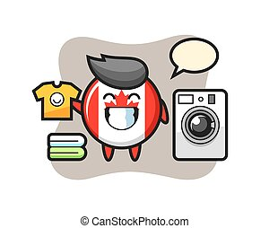 Mascot cartoon of canada flag badge with washing machine