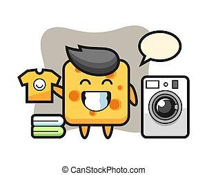 Mascot cartoon of cheese with washing machine