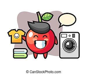 Mascot cartoon of cherry with washing machine