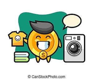 Mascot cartoon of dollar coin with washing machine