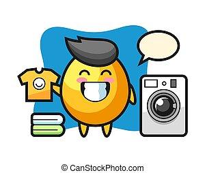 Mascot cartoon of golden egg with washing machine