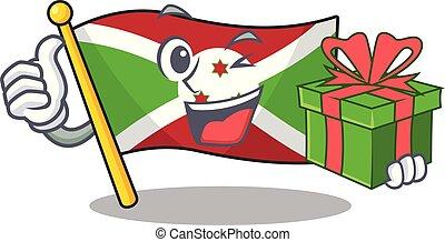 mascot cartoon of happy flag burundi with gift box