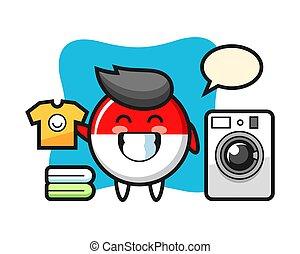 Mascot cartoon of indonesia flag badge with washing machine
