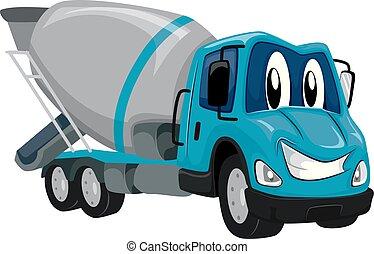 Mascot Cement Mixer Truck Illustration