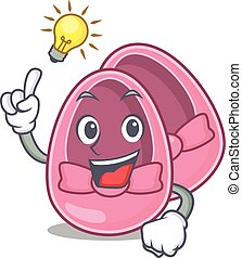 Mascot character of smart baby girl shoes has an idea gesture