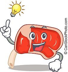 Mascot character of smart prime rib has an idea gesture. ...