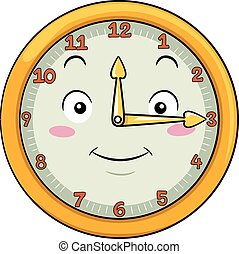 Mascot Clock Fifteen After Twelve - Mascot Illustration of a...