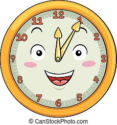 Mascot Clock Five After Twelve
