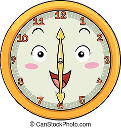 Mascot Illustration of a Smiling Clock with its Hands Pointing to the Numbers Twelve and Six