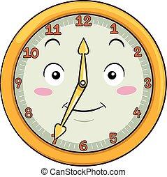 Mascot Clock Thirty Five After Twelve