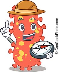 mascot design concept of bacteroides explorer with a compass...