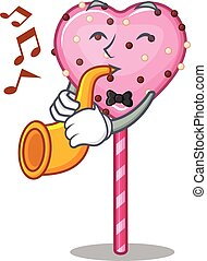 mascot design concept of candy heart lollipop playing a trumpet