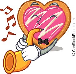 mascot design concept of cookie heart playing a trumpet