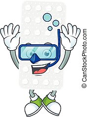 Mascot design concept of pills wearing Diving glasses. ...