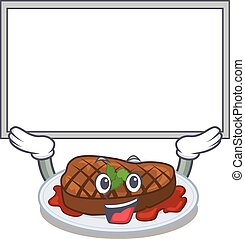 Mascot design of grilled steak lift up a board. Vector ...