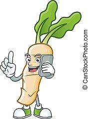 Mascot design of horseradish speaking on the phone. Vector illustration