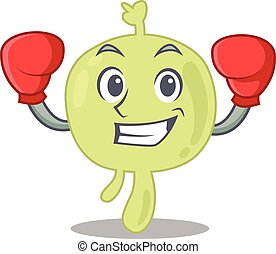 Mascot design of lymph node as a sporty boxing athlete