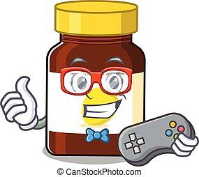 Mascot design style of bottle vitamin c gamer playing with controller. Vector illustration
