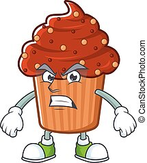Mascot design style of chocolate cupcake with angry face