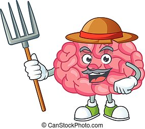 Mascot design style of Farmer brain with hat and pitchfork