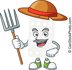 Mascot design style of Farmer pills with hat and pitchfork. ...