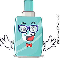 Mascot design style of geek ointment cream with glasses. ...