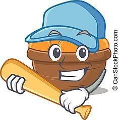 Mascot design style of orange fruit basket with baseball stick