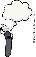 Mascot Dip Pen Think Cloud Illustration