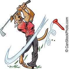 Mascot Dog Swinging Golf Club - Vector cartoon clip art...