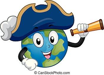 Mascot Earth Captain Illustration