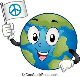Mascot Earth Peace Flag Illustration