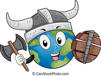 Mascot Earth Viking Illustration