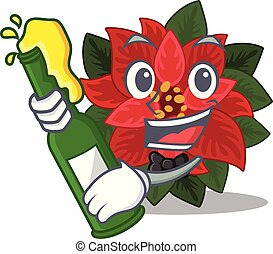 Mascot flower poinsettia with in bring beer character . ...