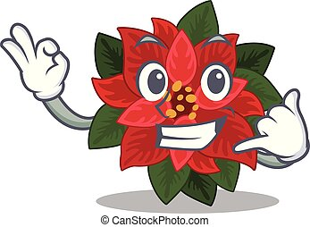 Mascot flower poinsettia with in call me character . Vector ...