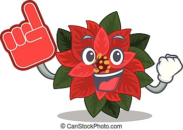 Mascot flower poinsettia with in foam finger character . ...