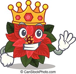 Mascot flower poinsettia with in king character . Vector ...