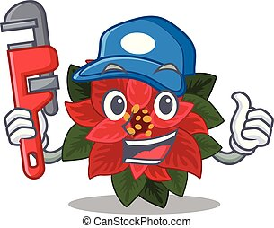 Mascot flower poinsettia with in plumber character . Vector ...