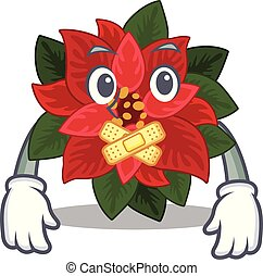 Mascot flower poinsettia with in silent character . Vector ...