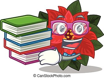 Mascot flower poinsettia with in student bring book ...