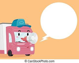 Mascot Food Truck Megaphone Speech Bubble